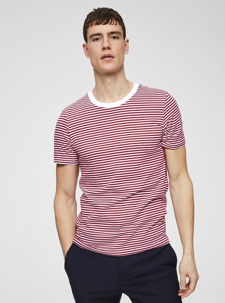 Tricou basic rosu-alb in dungi Selected Homme Perfect
