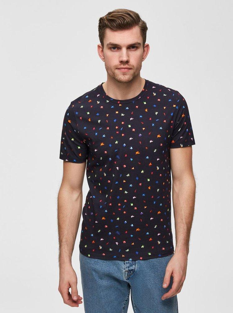 Tmavě modré vzorované tričko Selected Homme Feddon
