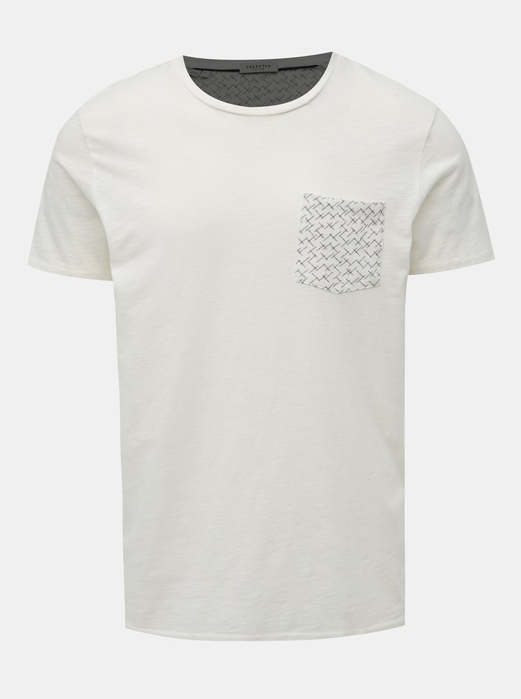 Krémové tričko s kapsou Selected Homme Kristian