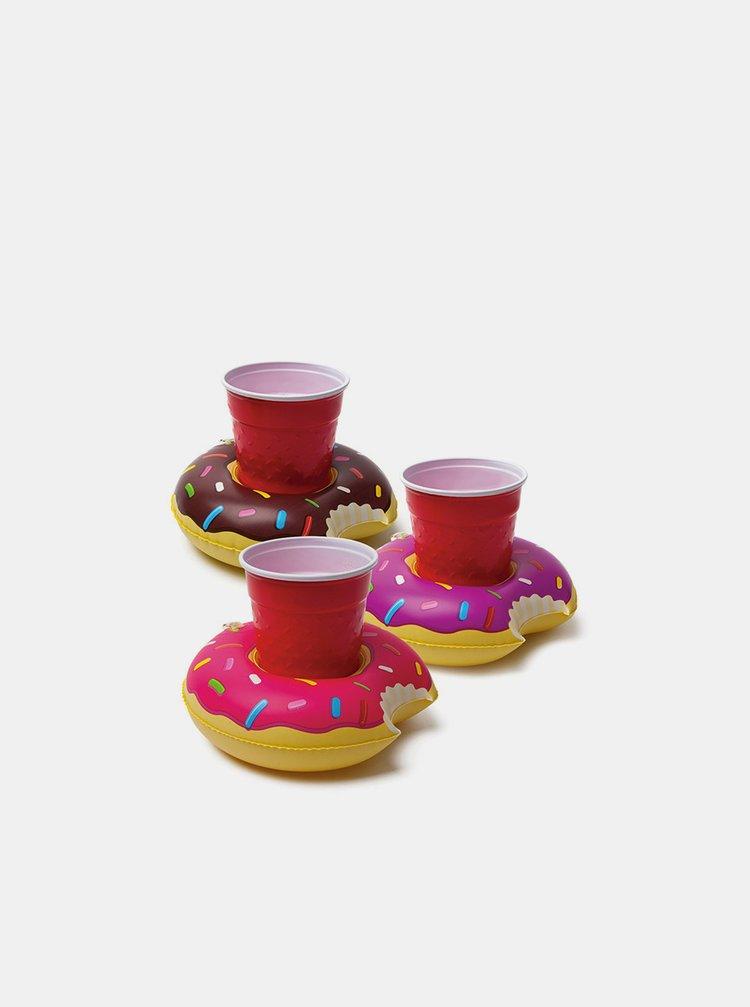 Sada tří nafukovacích držáků na pití v růžové a hnědé barvě BigMouth Inc.