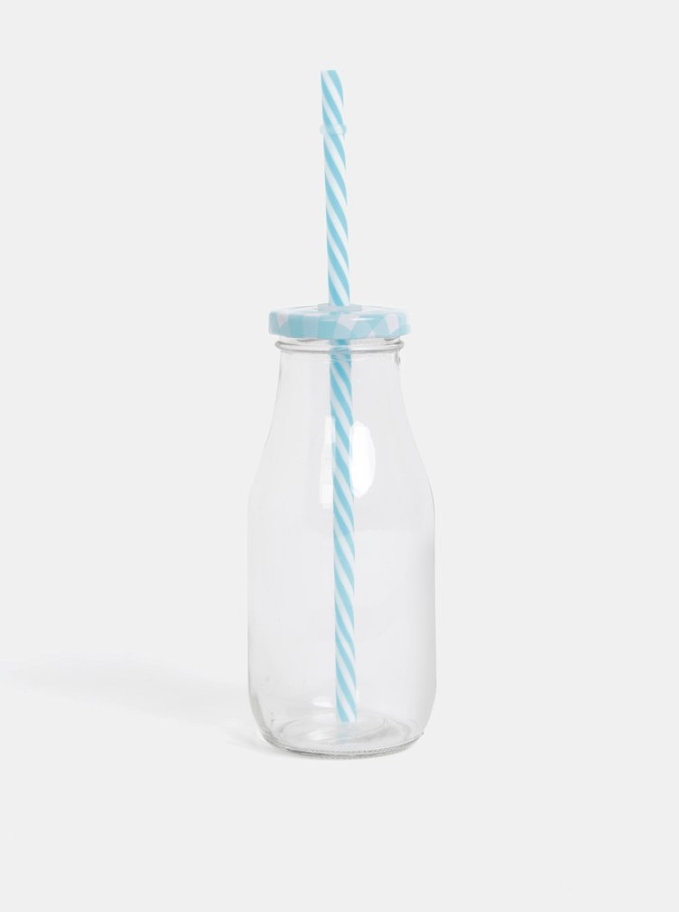 Sklenice na pití s modrým víčkem a brčkem SIFCON