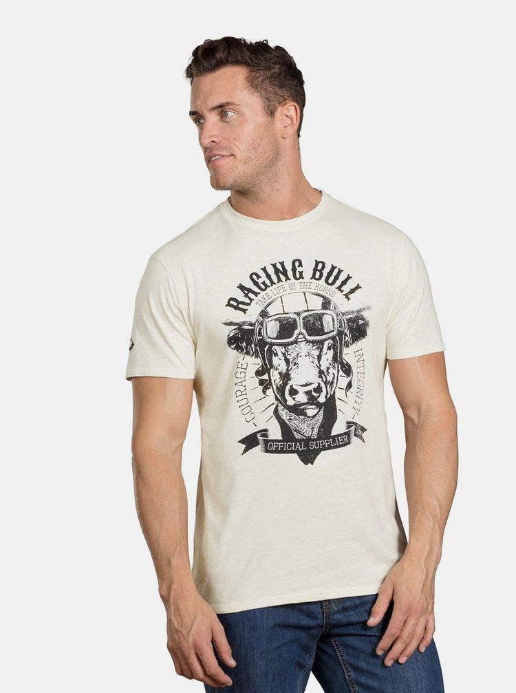 Tricou crem melanj cu imprimeu Raging Bull