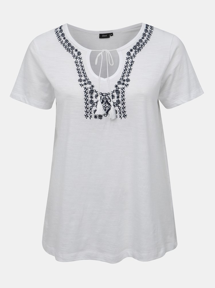 Bílé tričko s výšivkou Zizzi Jas