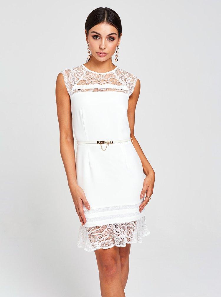 Bílé šaty s krajkou a páskem Paper Dolls