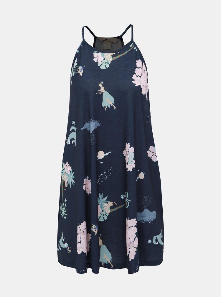 Tmavomodré vzorované šaty Femi Stories Bobi