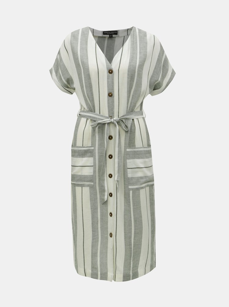 Krémovo-zelené pruhované košilové šaty s příměsí lnu Dorothy Perkins