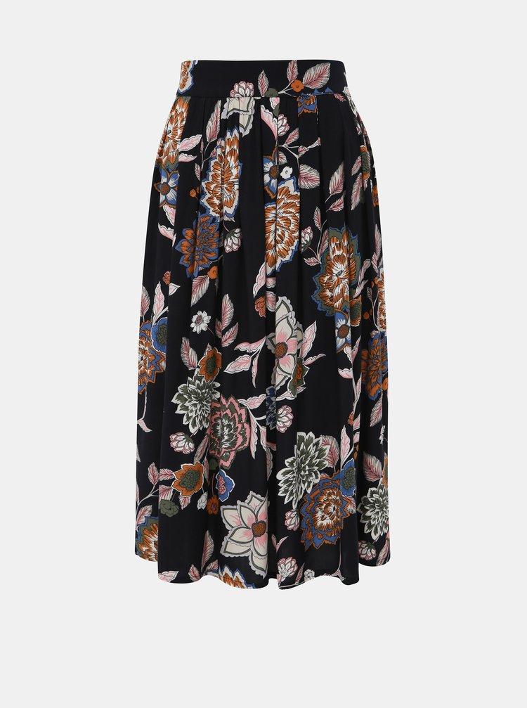 Černá květovaná midi sukně Jacqueline de Yong Mandi