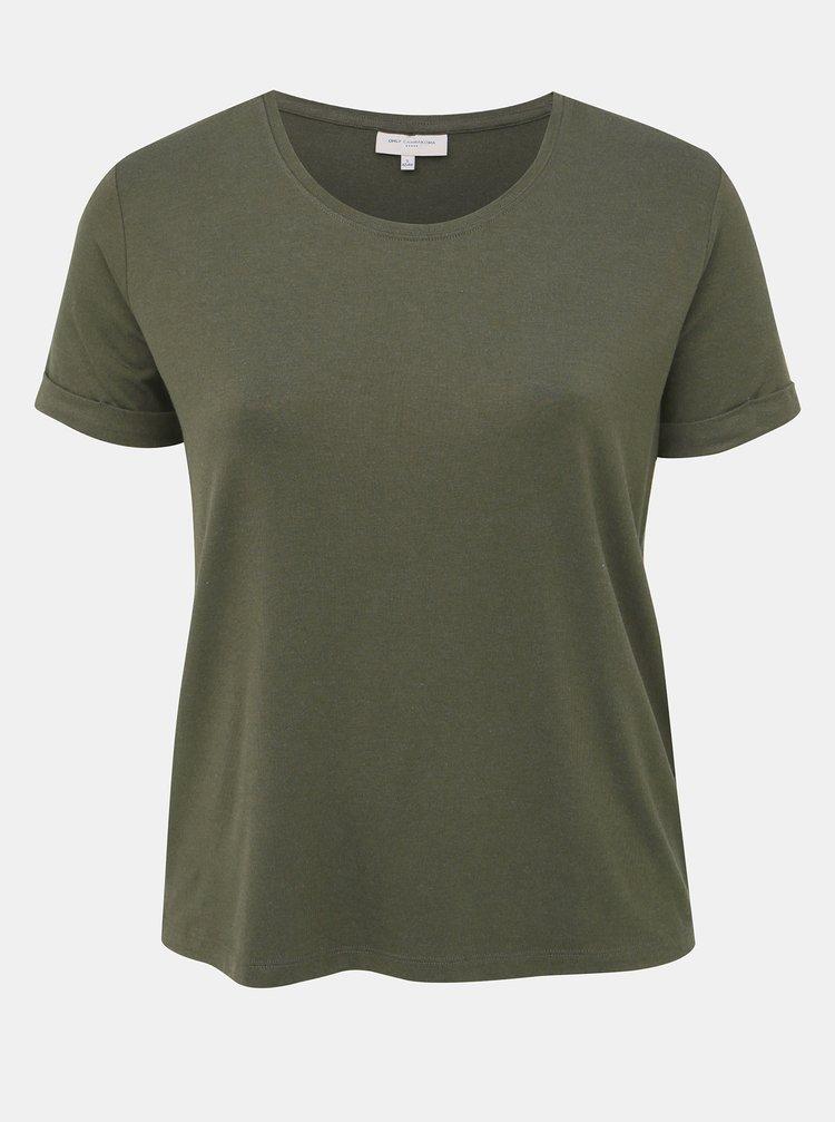 Khaki basic tričko ONLY CARMAKOMA Carma