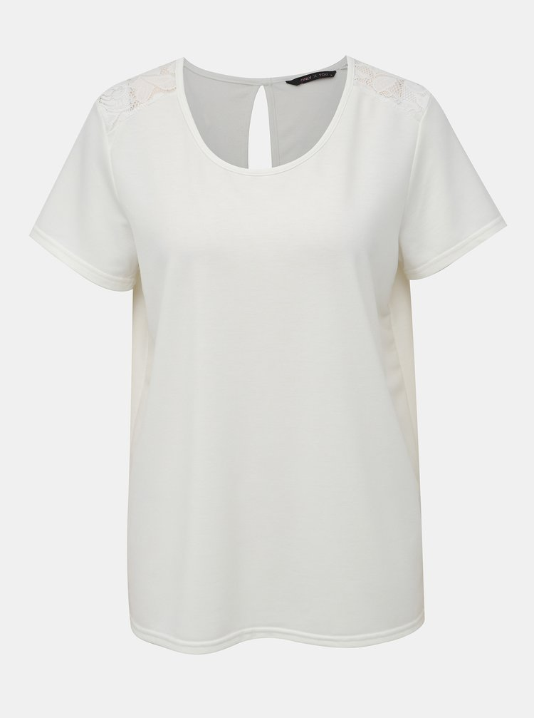 Biele tričko s krajkou ONLY Ymia