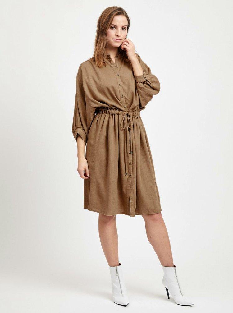 Hnědé lněné oversize košilové šaty VILA Linnan