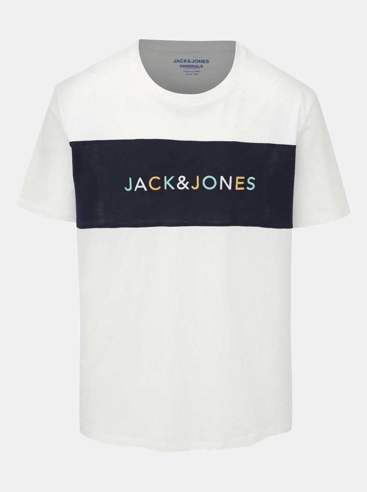 Bílé tričko s výšivkou Jack & Jones Albas