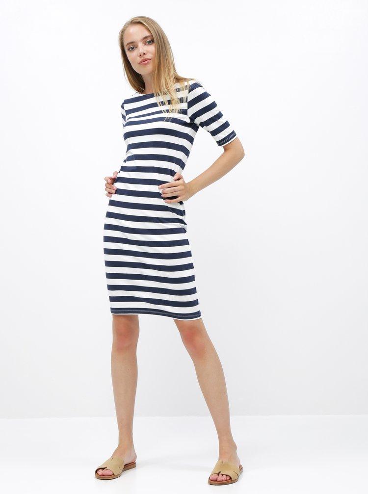 Bílo-modré pruhované pouzdrové basic šaty ZOOT Venice
