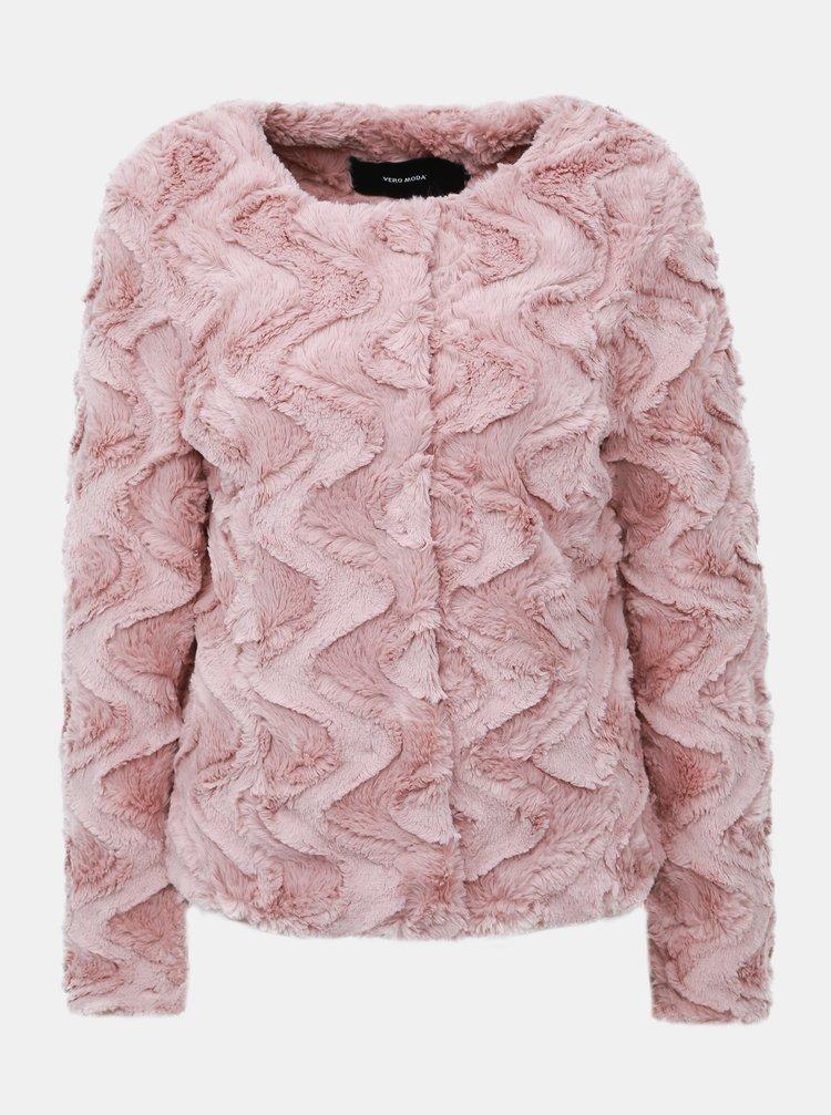 Rúžový krátky kabát z umelej kožušiny VERO MODA Curl