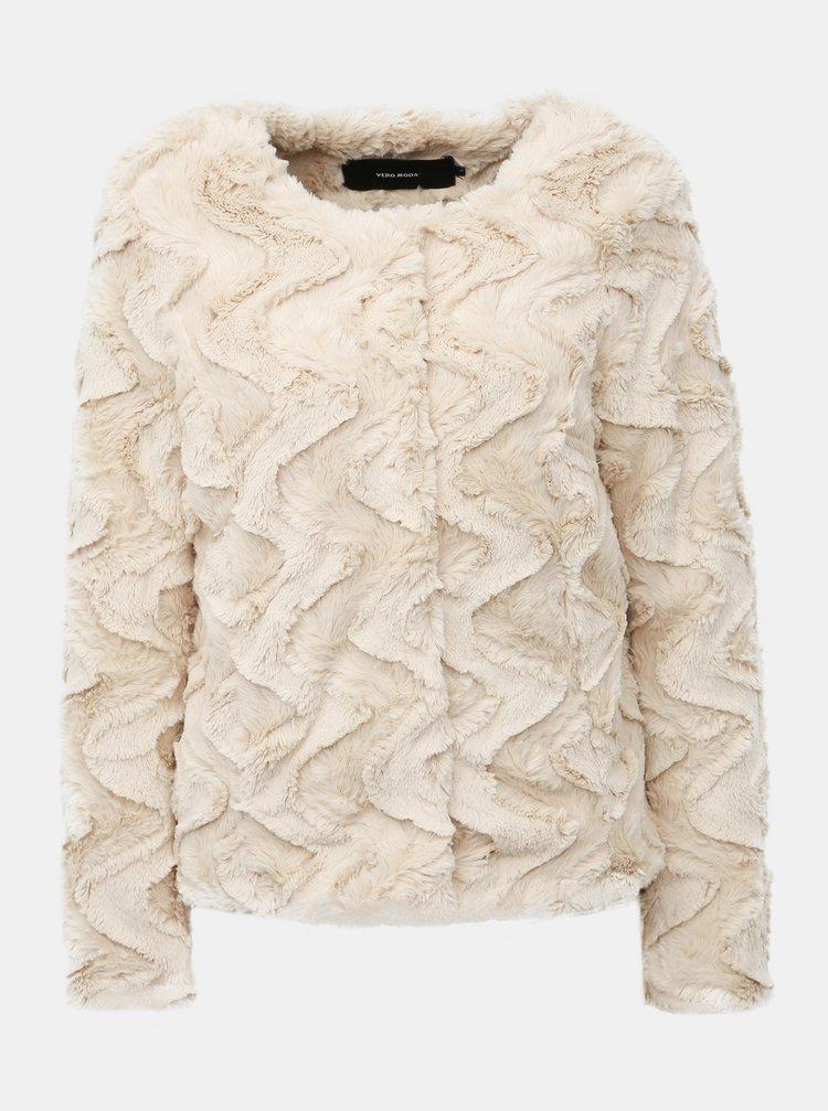 Krémový krátký kabát z umělé kožešiny VERO MODA Curl