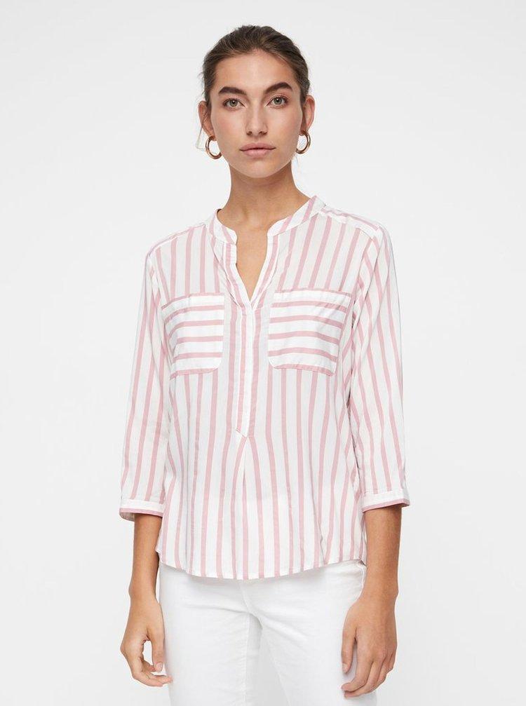 Bluza roz-alb in dungi cu buzunare VERO MODA Erika