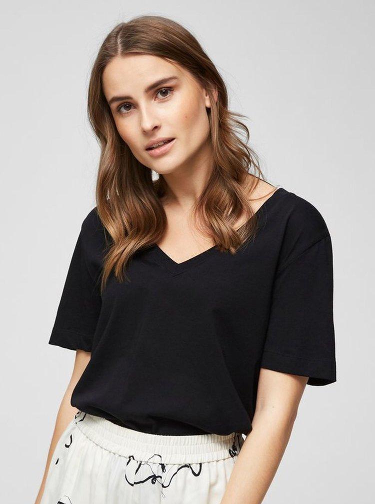 Čierne basic tričko Selected Femme Standard