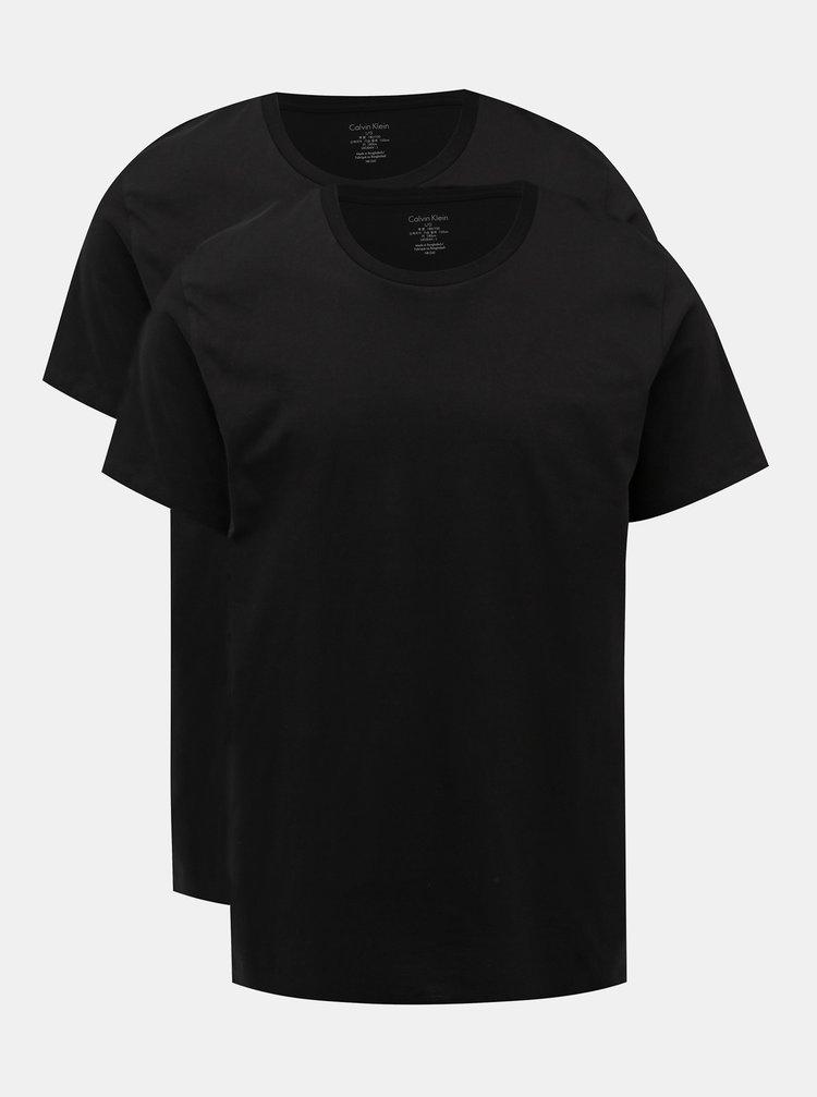 Sada dvou pánských triček pod košili v černé barvě Calvin Klein Underwear