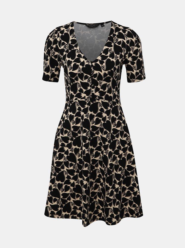 Béžovo-čierne vzorované šaty Dorothy Perkins