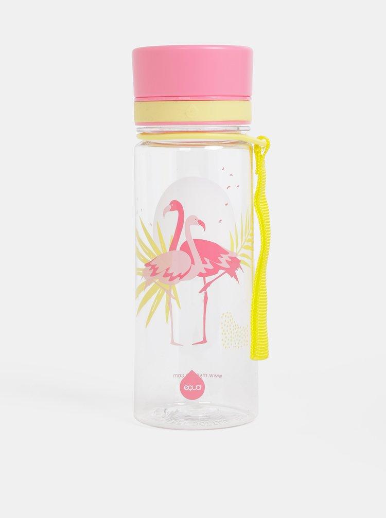 Růžová plastová láhev s potiskem EQUA Flamengo