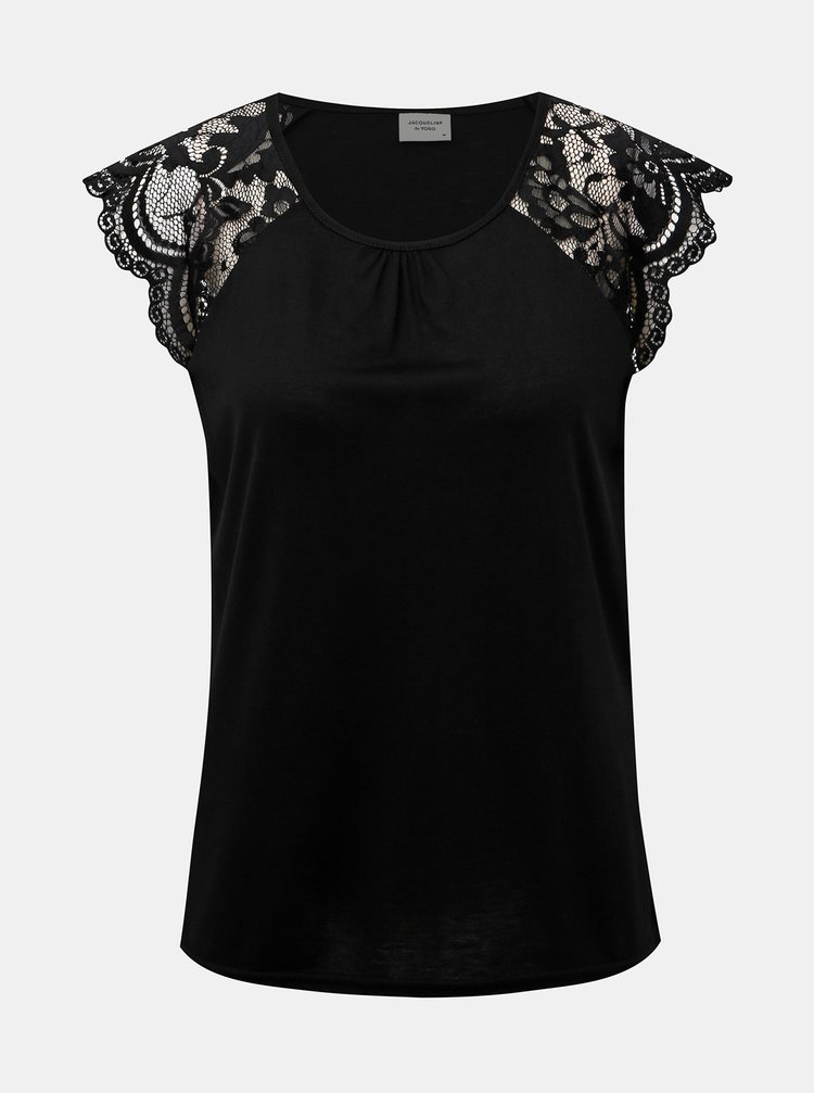 Černé tričko s krajkou Jacqueline de Yong Aluka