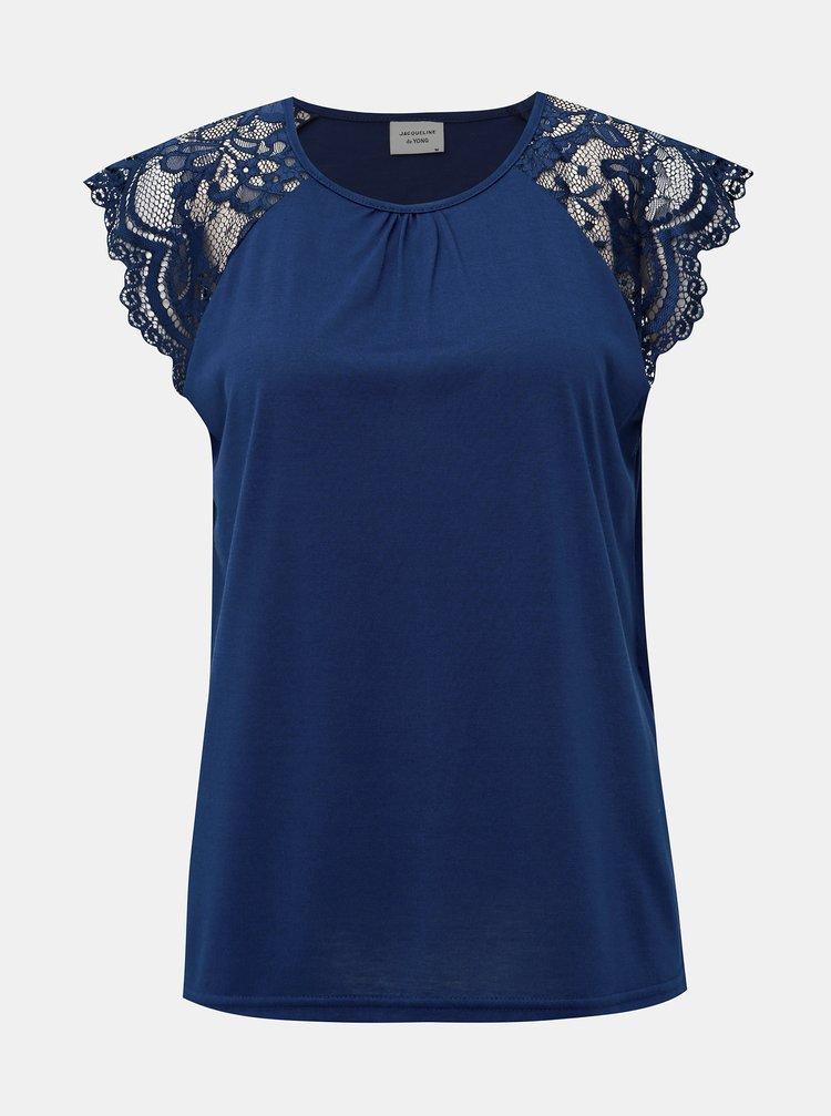 Tmavomodré tričko s krajkou Jacqueline de Yong Aluka