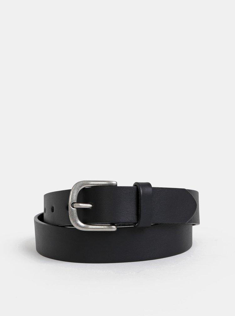 Černý kožený pásek Pieces Anika