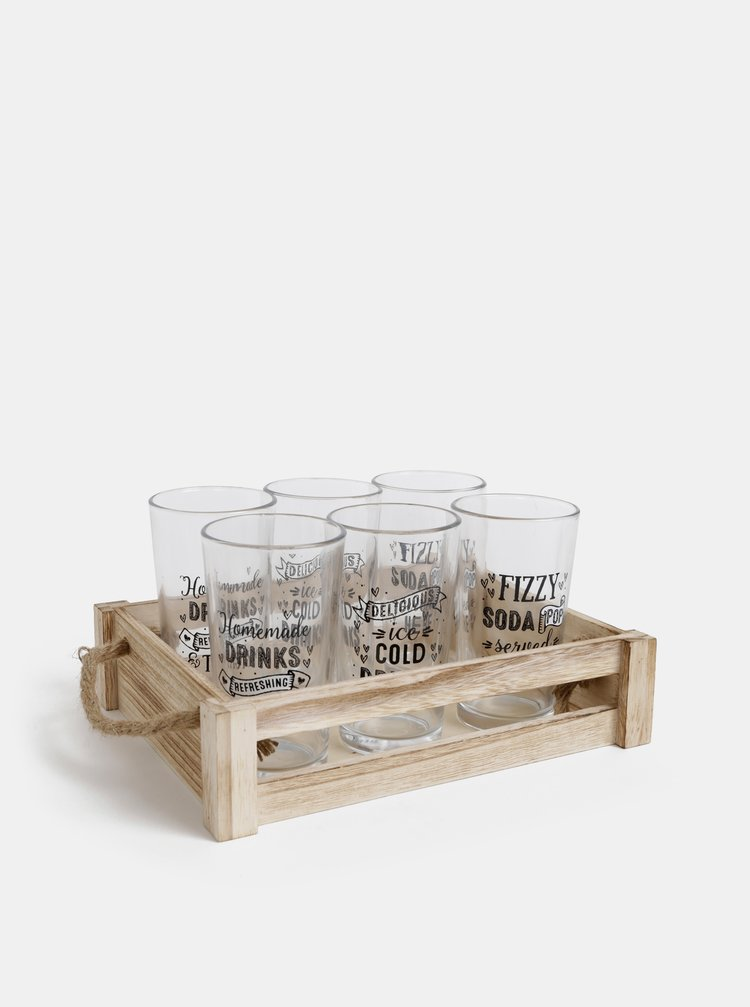 Sada šesti sklenic s dřevěným podnosem SIFCON