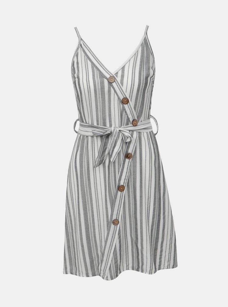 Bielo-šedé pruhované šaty Haily´s Elfie