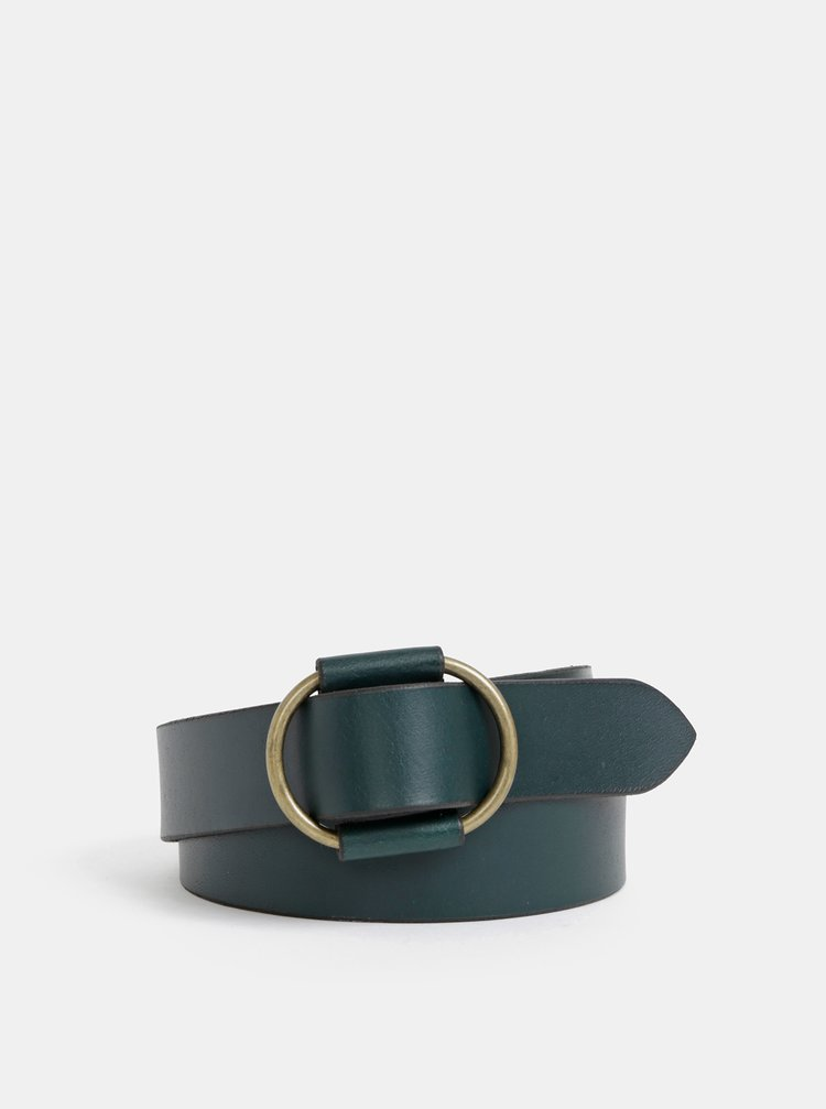 Tmavě zelený kožený pásek Pieces Pilja