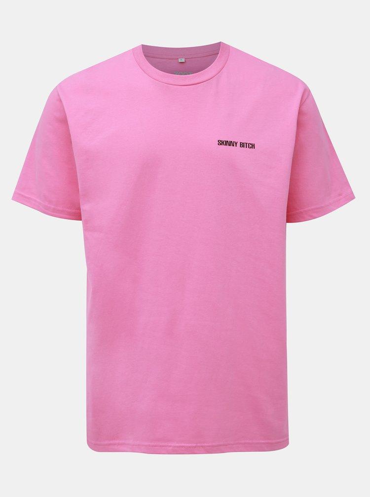 Růžové pánské tričko s potiskem ZOOT Original Skinny Bitch