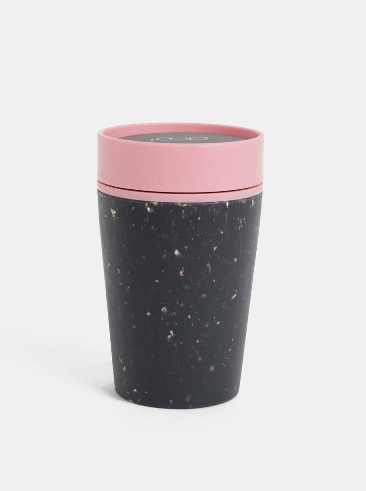 Růžovo-černý cestovní hrnek rCUP 227 ml