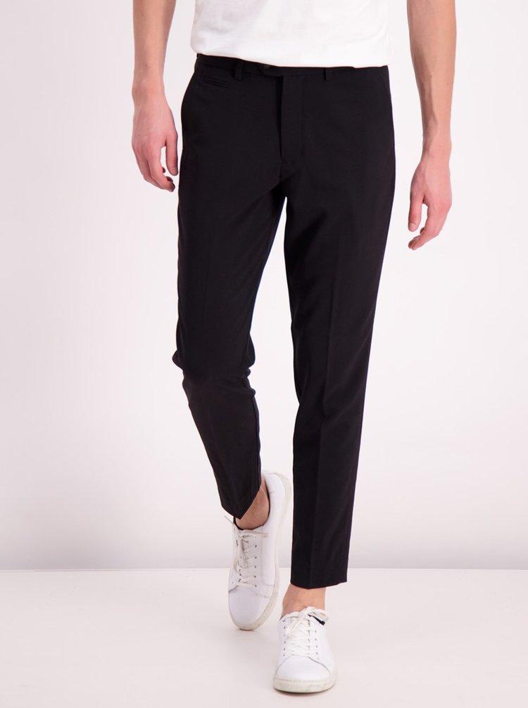 Černé zkrácené slim fit kalhoty Lindbergh