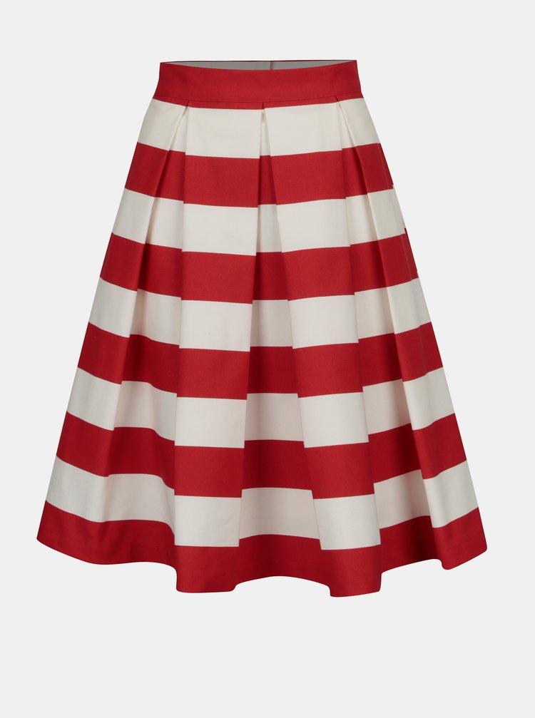 Červeno-krémová pruhovaná kolová sukně MONLEMON Navy Red