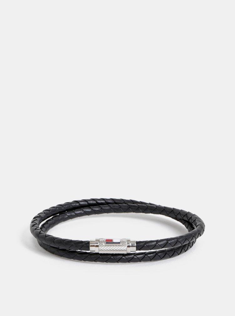 Černý kožený náramek Tommy Hilfiger