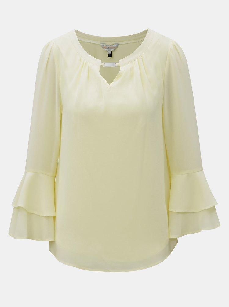Bluza galben deschis cu volane pe maneci Dorothy Perkins