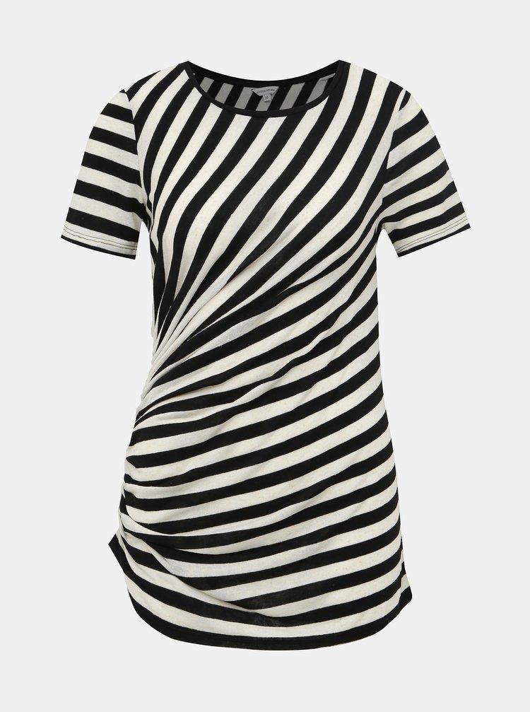 Krémovo-černé pruhované tričko s řasením M&Co Ruched