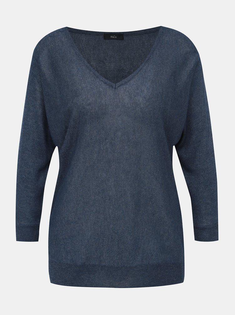 Tmavě modrý lehký svetr s 3/4 rukávem M&Co