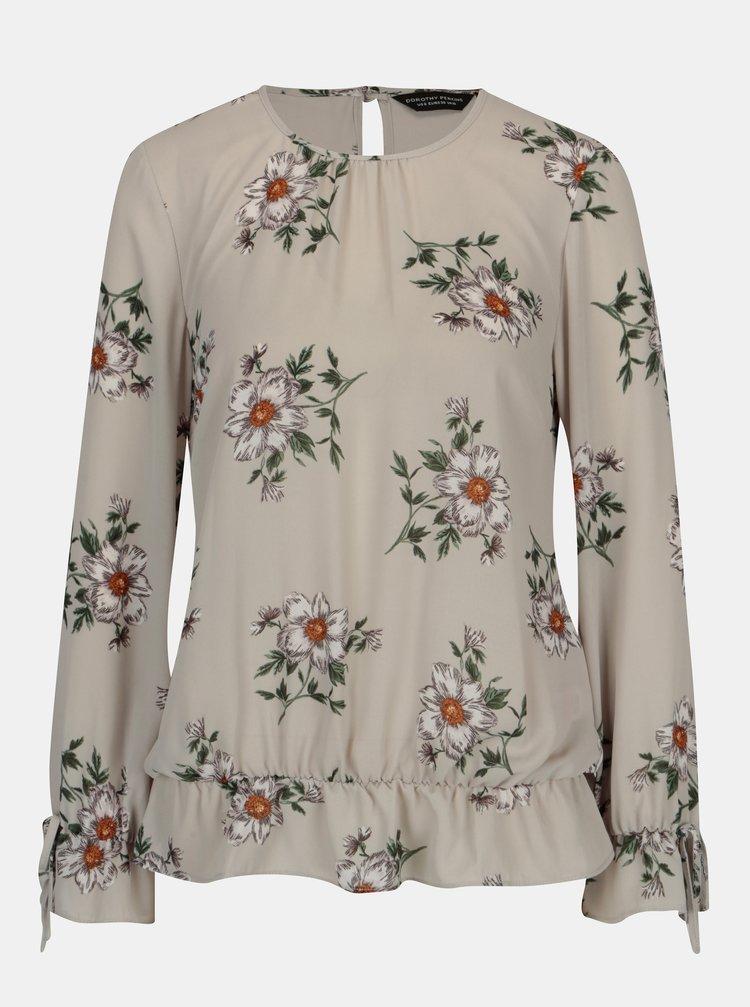 Světle šedá květovaná halenka Dorothy Perkins