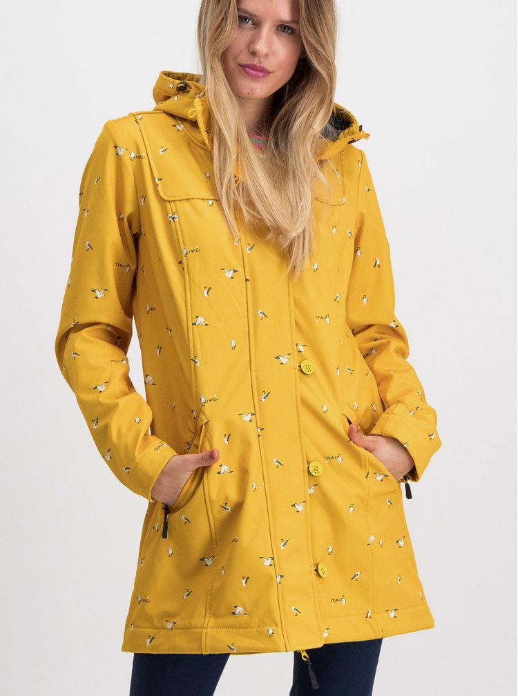 Žlutý vzorovaný funkční softshellový kabát Blutsgeschwister Wild Weather