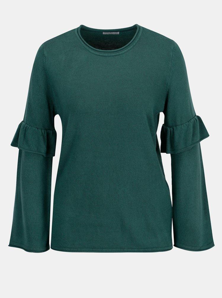 Zelený svetr s volány na rukávech Jacqueline de Yong Stardust