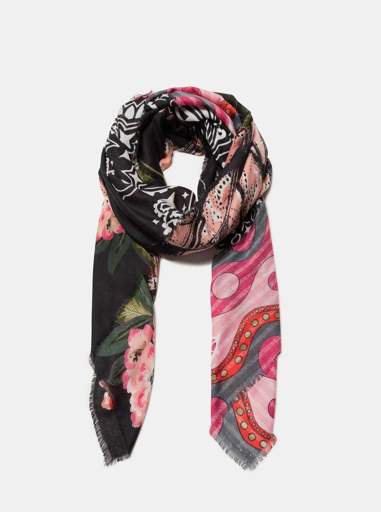 Růžovo-černý vzorovaný šátek Desigual Patch