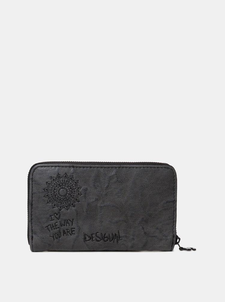 Tmavě šedá peněženka s výšivkou Desigual Albita