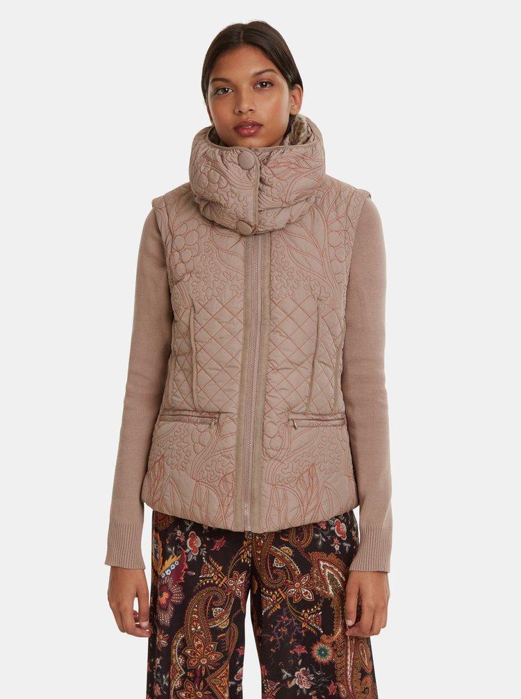 Béžová zimní bunda/vesta Desigual Nivy