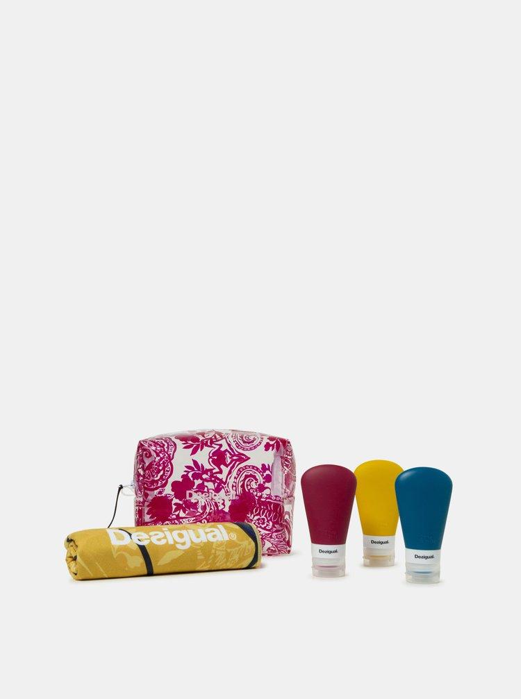 Transparentní vzorovaná cestovní kosmetická taštička s ručníkem Desigual