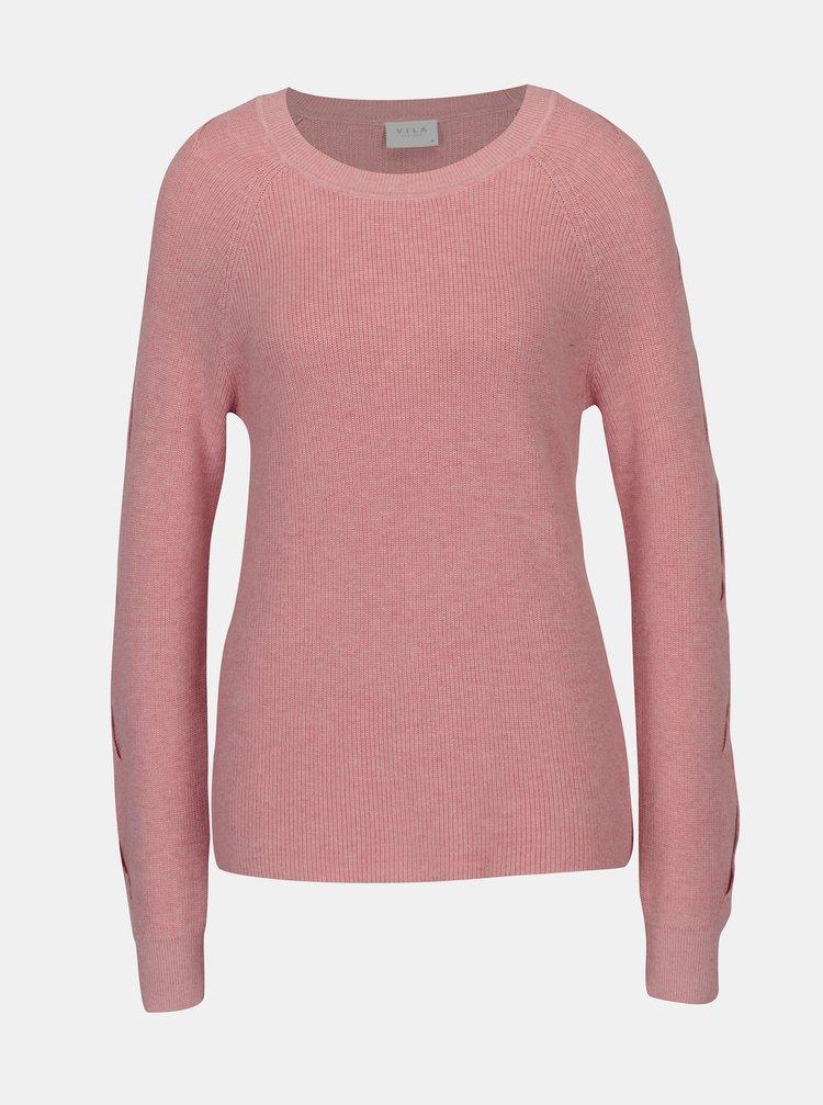 Ružový sveter s prestrihmi na rukávoch VILA Myntani