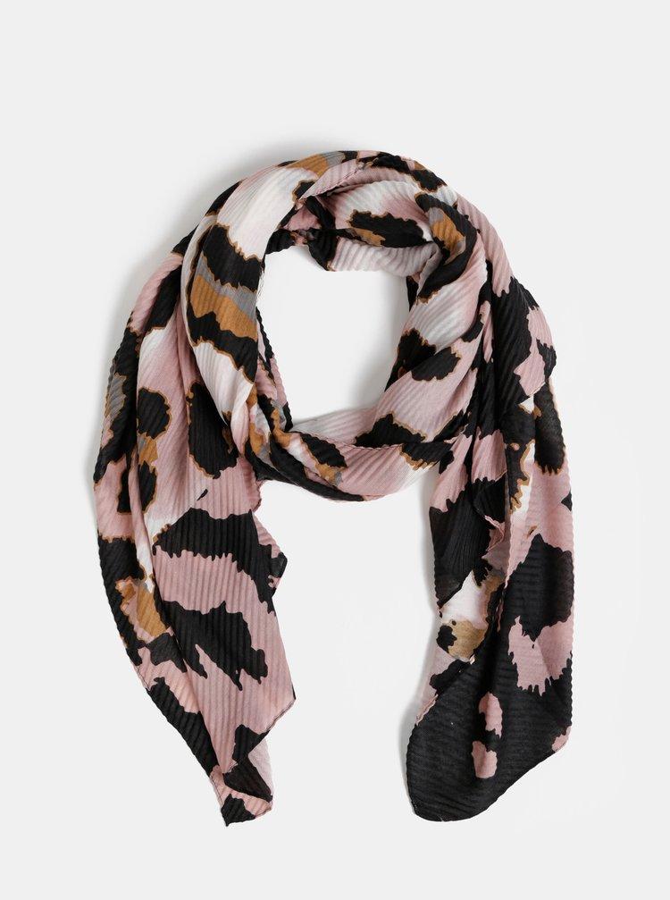 Černo-růžový šátek s leopardím vzorem Dorothy Perkins