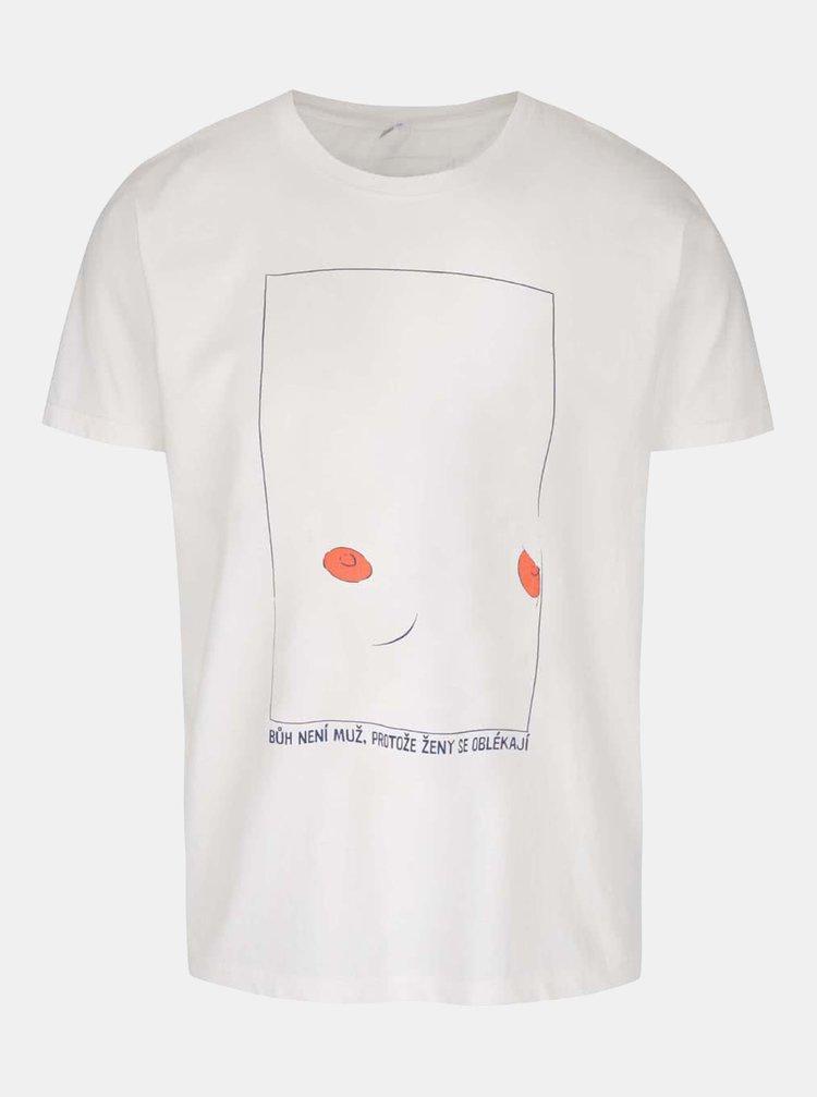 Krémové pánské tričko s krátkým rukávem Bez Jablka Bradavky