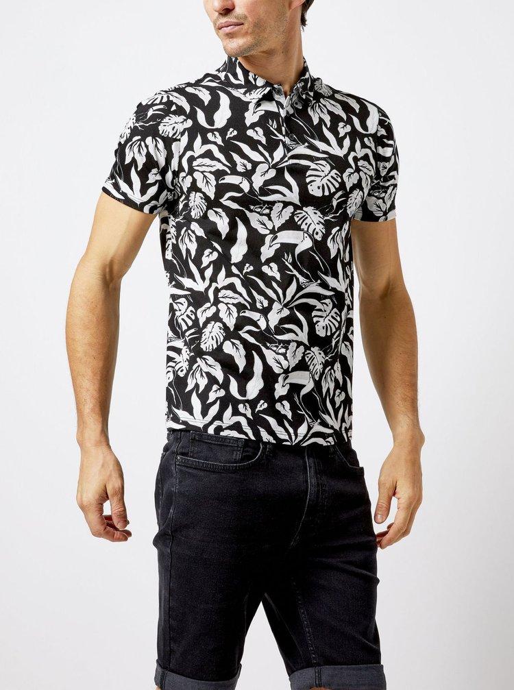 Bielo-čierna vzorovaná polokošeľa Burton Menswear London