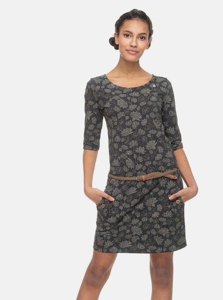 Tmavošedé kvetované šaty Ragwear Tanya Flowers