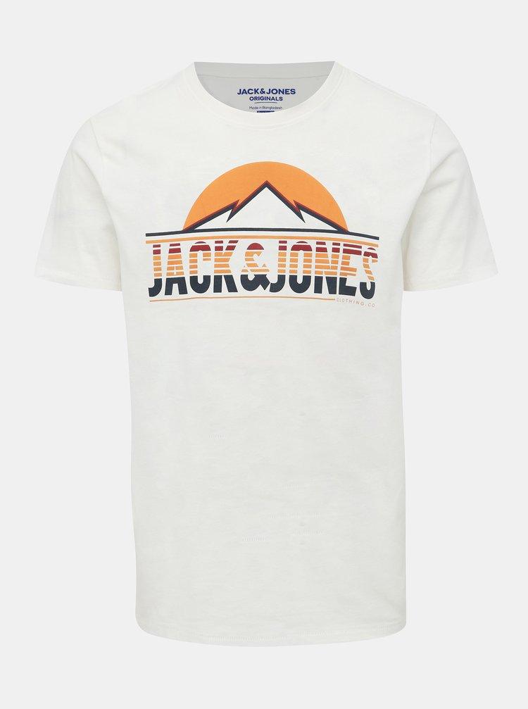 Bílé tričko s potiskem Jack & Jones Dorsey